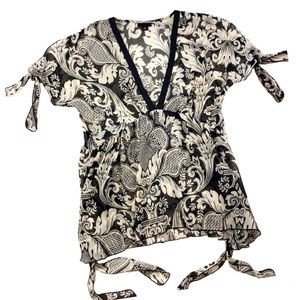 Anna Sui V-Neck Paisley Semi-Sheer Tie Blouse M397